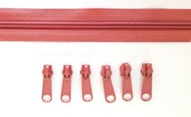 Baggy Zippers - LARGE (YKK) - 2 meter met 6 metalen sluiters - Antiek Roze