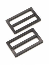 "HAR1.5-SL-BM-TWO - 1½"" Wide-Mouth Sliders Black Metal - Purse Parts By Annie"