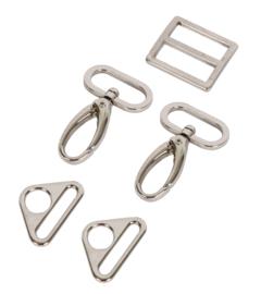 """HAR1-N-SET-3250 - 1"""" Nickel Slider/Hooks/Rings - Purse Parts By Annie"""