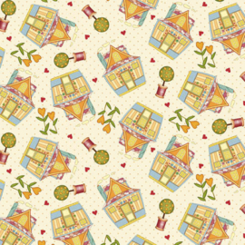 'Sew Let's Stitch' by Sandy Lee - Quilted Houses - 1867-44 Cream