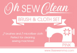 Oh Sew Clean - PINK - Set met 2 Borstels & Poetsdoekje voor uw Naaimachine