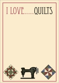 "Notebook A6  -  ""I LOVE ... QUILTS"" - 100 pagina's, Full Color"