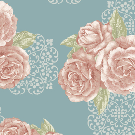 Grandeur Rose by Painted Sky Studio - 6946-84 - Grandeur Bouquet, Teal/Rose
