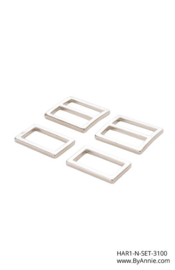 "HAR1-N-SET-3100 - 1"" Wide-Mouth Sliders and Rectangle Rings Nickel - Purse Parts By Annie"