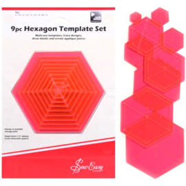 Sew Easy - 9pc Hexagon Template Set
