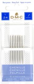 DMC - Chenille Borduurnaalden (Sharp) - Size 24 - 6 stuks