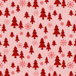 'Christmas Memories' by Lucie Crovatto - Trees on Small Stripe - 5260-8 RED-WHITE