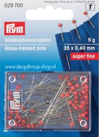 Glasparelkopspelden - 35 x 0,40 mm - doosje á 5 gram  (Prym)