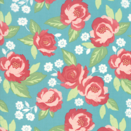 'Bloomington' by Lella Boutique - LAMINATED FABRIC - 5110-16C, Teal - Per halve meter