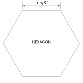 Hexagon 1 1/8 inch - Pre Cut English Paper Pieces (40 stuks)