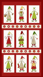 PANEL:  'Christmas Elves' by Gail Pan - 2294P-88-RED