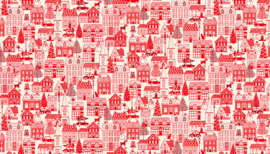 "'Christmas 2019"" - Scandi Houses Red - 2127/R"