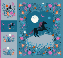 "PANEL:  'MAGIC UNICORN PANEL' by Sarah Watts - 108"" wide"