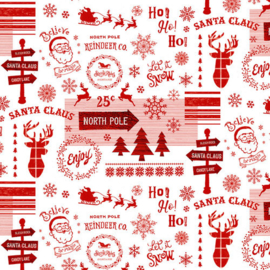 'Christmas Memories' by Lucie Crovatto - Words and Holiday Motifs - 5257-8 RED-WHITE