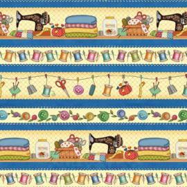 'Sew Let's Stitch' by Sandy Lee - Border Stripe - 1865-77 Blue