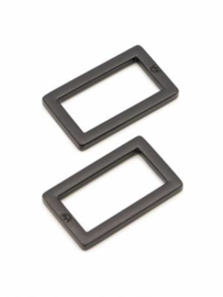 "HAR1-RR-BM-TWO - 1"" Rectangle Rings Black Metal - Purse Parts By Annie"