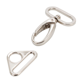 "HAR1-N-SET-3055 - 1"" Triangle Ring and Swivel Hook, Nickel - Purse Parts By Annie"