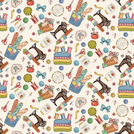 'Sew Let's Stitch' by Sandy Lee - Tossed Allover - 1868-9 Off White