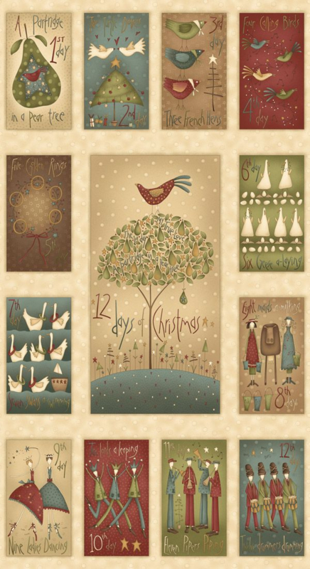 "PANEL: 'On the 12th Day of Christmas' by Anni Downs - 24"" Panel - 7890P-44"