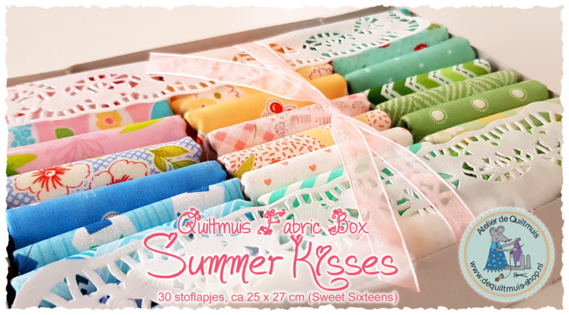 Quiltmuis Fabric Box 'Summer Kisses' - 30 stoflapjes - Fat Eight