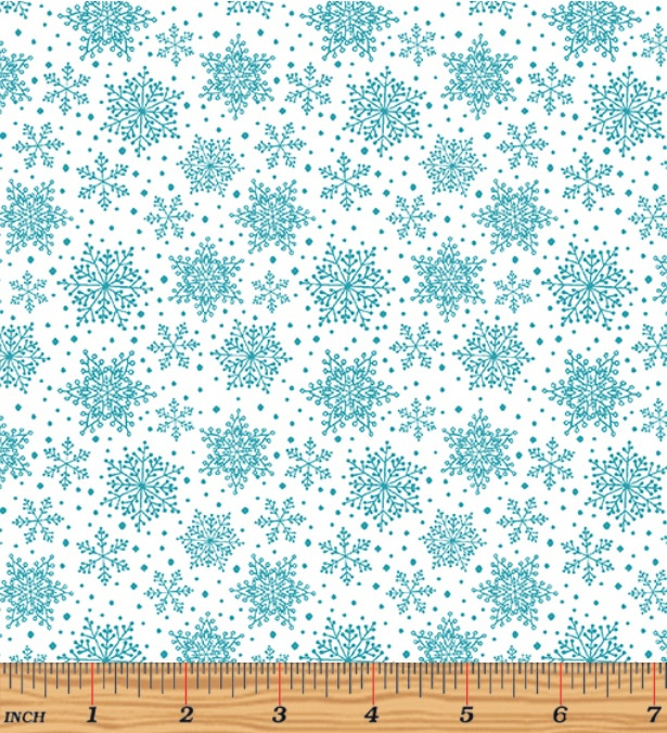 'Hearty The Snowman' by Cherry Guidry - Snowflakes White/Turquoise - 7577-84