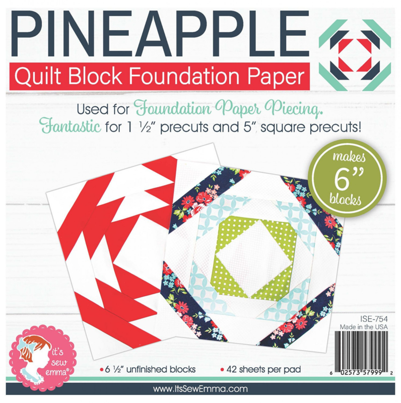Quilt Block Foundation PaperPad, 6 inch - PINEAPPLE