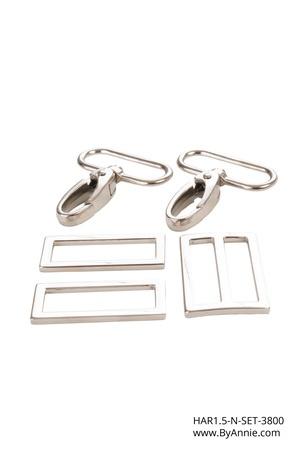 """HAR1.5-N-SET-3800 - 1½"""" Nickel - 2 Rectangle Rings, 2 Swivel Hooks, 1 Wide Mouth Slider"""