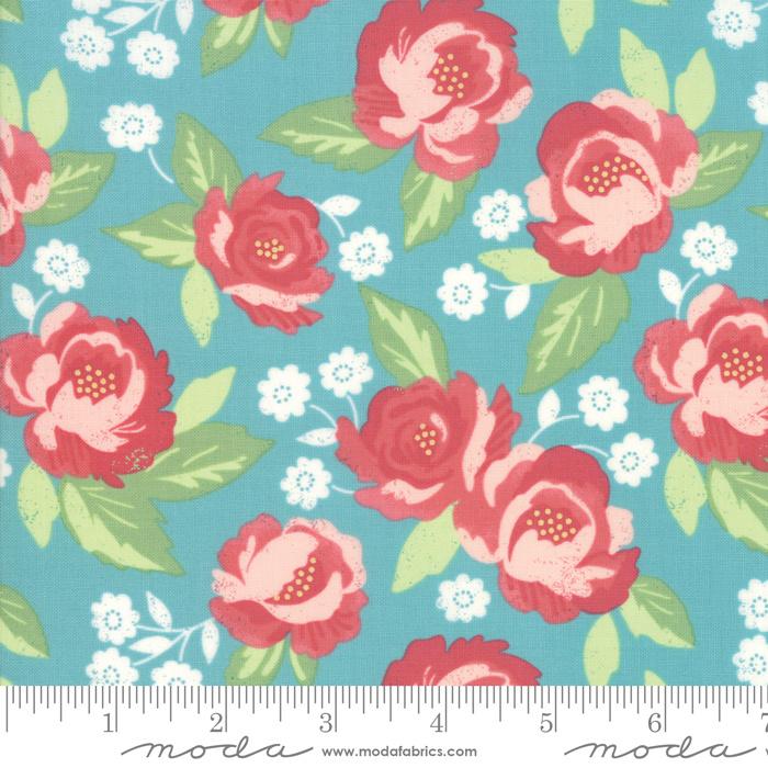 'Bloomington' by Lella Boutique - LAMINATED FABRIC - 5110-16C, Teal - Per halve meter