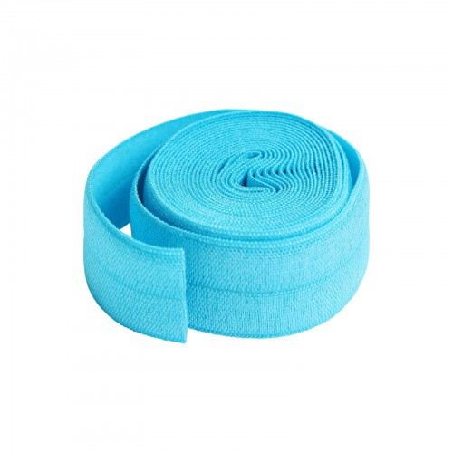 Fold over elastic -2 yard - Parrot Blue