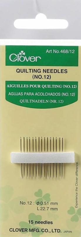 Quiltnaalden - 15 stuks (Clover No.12)  - 0,51 x 22,7mm - 468/12