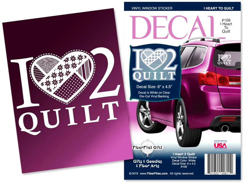 "Autoruit sticker Vinyl - ""I Love 2 Quilt"""