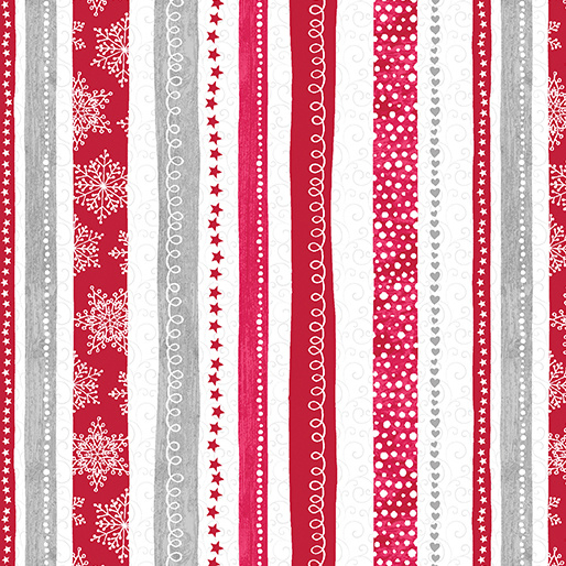 'Hearty The Snowman' by Cherry Guidry - Swirl Stripe Red - 7572-10