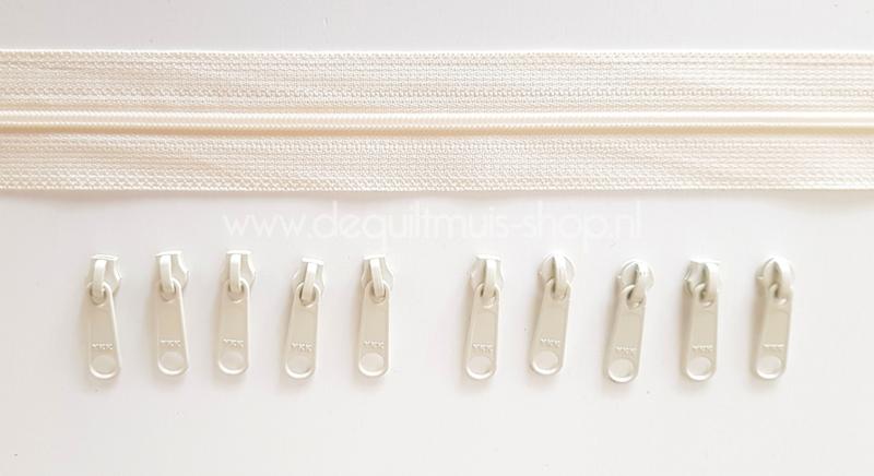 Baggy Zippers - SMALL (YKK) - 2 meter met 10 metalen sluiters - Crème