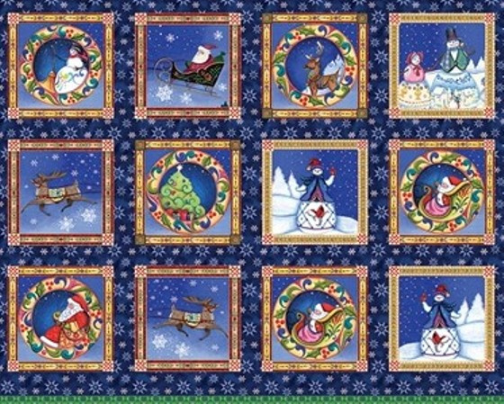 PANEL:  'A Quilter's Xmas Panel Multi' by Jim Shore - 6653-99