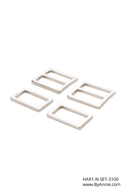 """HAR1-N-SET-3100 - 1"""" Wide-Mouth Sliders and Rectangle Rings Nickel - Purse Parts By Annie"""