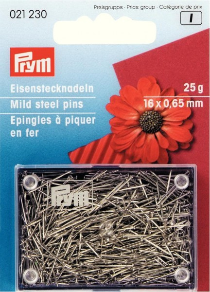 Fijne IJzeren Spelden - 25 gram - 16 x 0,65 mm (Prym)