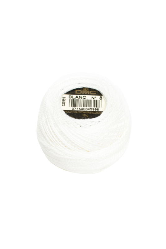 DMC Pearl Cotton on a Ball, Small - Size 8 - 10 gram, Color BLANC