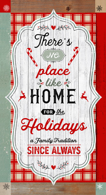 """PANEL: 'Christmas Memories' by Lucie Crovatto - 24"""" Word Panel - 5253P-81 Red/Teal"""