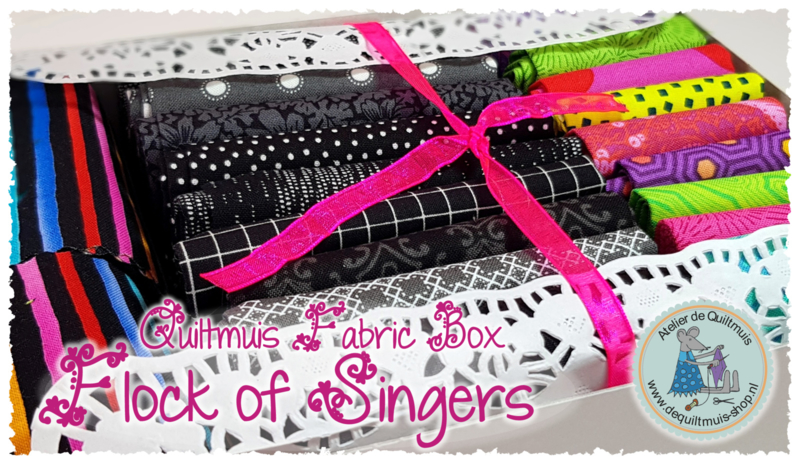 "Fabric Kit:  ""FLOCK OF SINGERS"" - MULTICOLOR - incl. patroon"