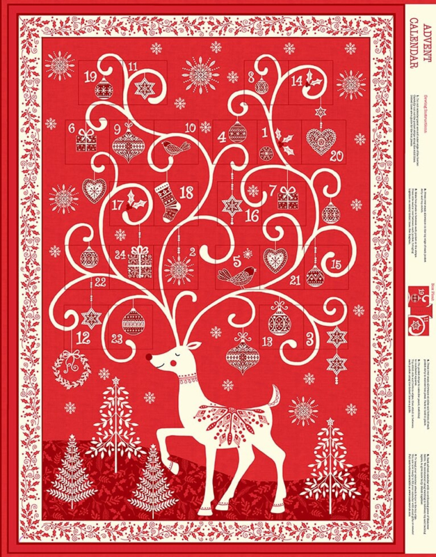 PANEL:  'Christmas 2019'- Scandi Advent Red - 2110/R