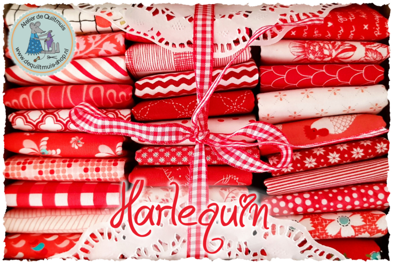 Quiltmuis Fabric Box 'Harlequin' - 30 stoflapjes Sweet Sixteen