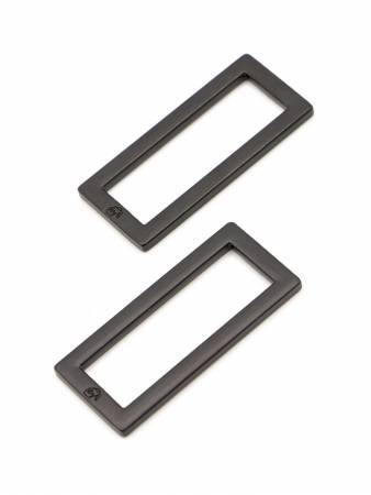 """HAR1.5-RR-BM-TWO - 1½"""" Rectangle Rings Black Metal - Purse Parts By Annie"""