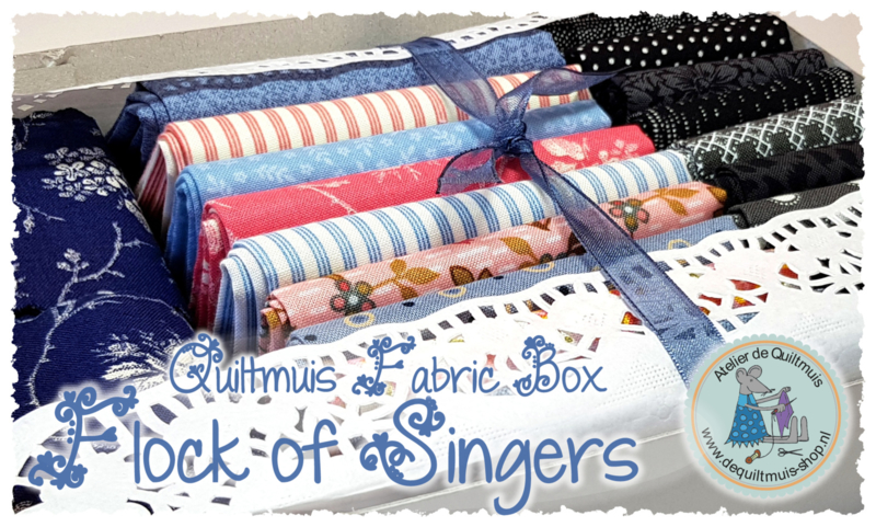 "Fabric Kit:  ""FLOCK OF SINGERS"" - VINTAGE - incl. patroon"