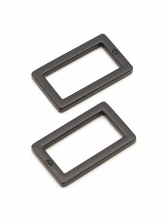 """HAR1-RR-BM-TWO - 1"""" Rectangle Rings Black Metal - Purse Parts By Annie"""