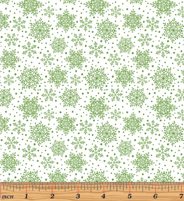 'Hearty The Snowman' by Cherry Guidry - Snowflakes White/Green - 7577-44