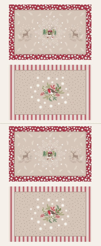 Panel: Linen Countryside  Winter Placemats - C25.1