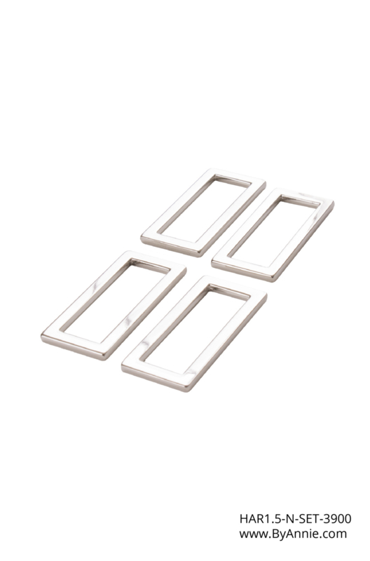 """HAR1.5-N-SET-3900 - 1½"""" Nickel Rectangle Rings - Purse Parts By Annie"""
