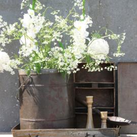 Witte Bloemen in een stoer blik