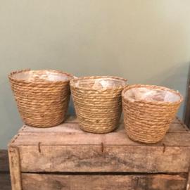 Pot paper and straw d 17 h 15 cm naturel