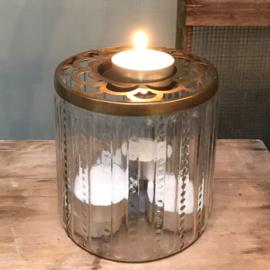 Windlicht / Vaas glas-koper